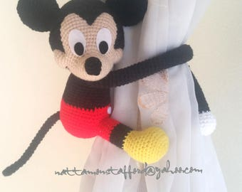 1 Mickey Mouse Crochet curtain tie back,  Handmade Mickey mouse  curtain tie back. Nursery tie backs.  MADE TO ORDER***