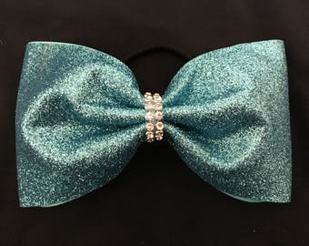 Light TEAL Glitter Tailless bow