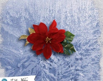 Elegant Velveteen Poinsettia Hair Clip | 3in French Barrette | Hand Crafted