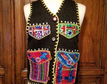 Vintage Michael Simon Sweater Vest, Sequins, Holiday, 90s Fashion