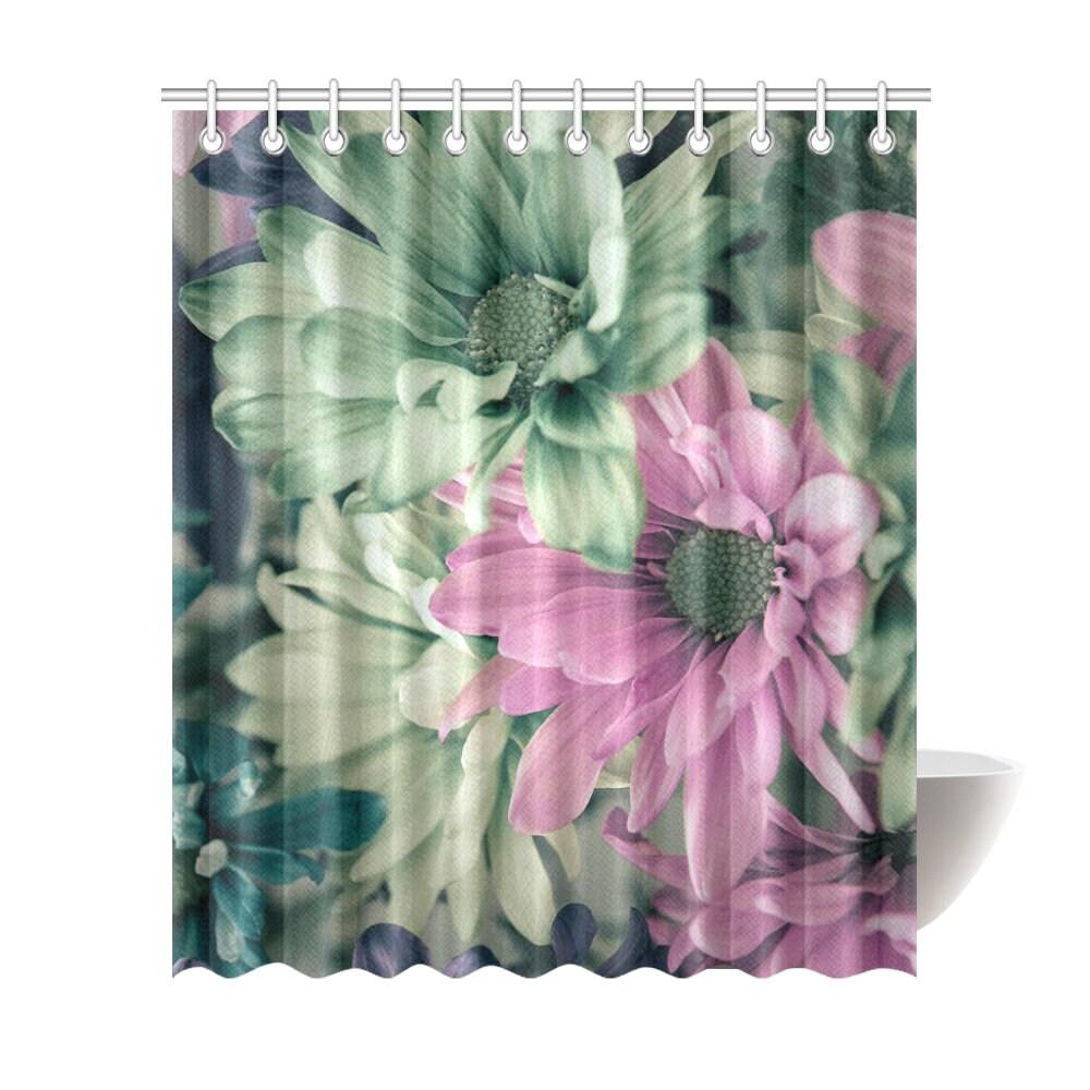 Artistic Daisy Shower Curtain 72x84 Fine Floral Shower Curtain ...