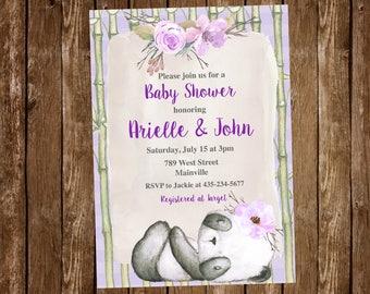 Panda Bear, Purple, Girl, Baby Shower Invitation, Panda Baby Shower - Digital or Printed