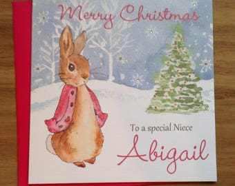 Handmade Personalised Pink Flopsy Bunny Christmas Card Son ,Nephew Brother ,Grandson ,Daughter ,Niece ,Sister 1st 2nd