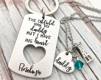 The Oilfield Has My Daddy But I Have His Heart - Matching Gift Set - Custom Hand Stamped -  Personalized Keychain Necklace - Oil Rig Family