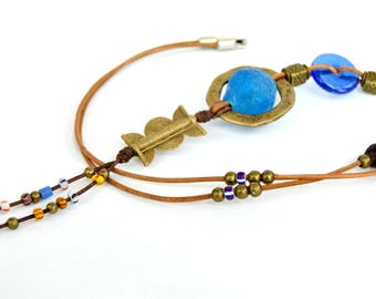 Tribal long necklace, ethnic tribal necklace, summer jewelry, rustic bohemian jewelry, blue green brown necklace, womens gifts, statement