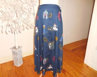 "Vintage navy rayon maxi skirt tennis players playing 28"" waist"