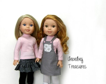 14 inch doll clothes made to fit like wellie wisher doll clothes pink turtleneck top and gray jumper