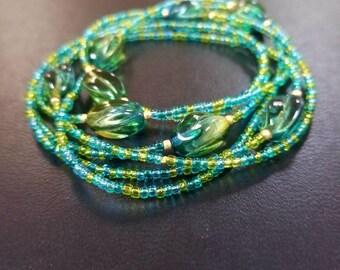 Irish Spring  Multi Green  Seed Beads Neacklace
