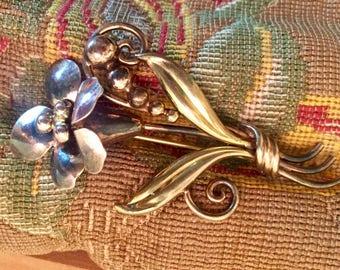 12k Gold Fill over Sterling Brooch Vintage Bouquet