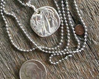 Pretty Lady Fine Silver Pendant PMC