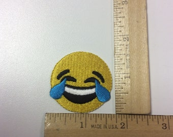 Laughing emoji iron on patch