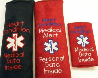 Heart Condition, CHD, Medical Alert Seat Belt Cover, CHD, Medical Alert Seat Belt, Heart Warrior, Medical Information Tag, Diabetic ID Tag