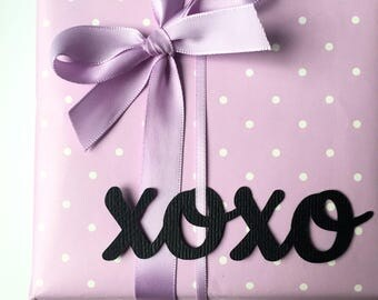 XOXO gift wrapping words. Christmas gift wrapping. Cut shapes, hugs & kisses gift wrap embellishments. Birthday party, baby shower, weddings