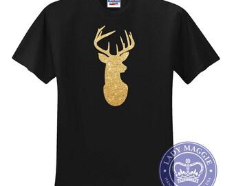 Gold Glitter Deer Head T-Shirt - Gold Stag Head TShirt - Glitter Deer Head Silhouette Shirt - Gold Glitter Deer Tee Shirt
