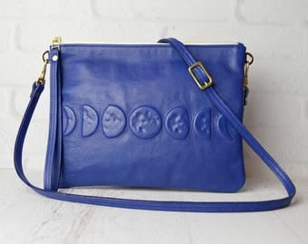 Bright Navy Leather Crossbody Clutch with Phases of the Moon, Leather Pouch, leather clutch , leather cross body , wristlet , moonphase