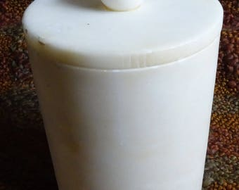 Alabaster Round Lidded Container - Good Condition - Bathroom - Vanity - Dresser -  4 inch x 6 tall