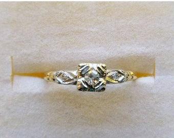 ON SALE Art Deco Retro 14k two tone gold .10 tcw diamond engagement ring circa 1940s size 6