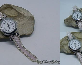 Woven pink and silver watch