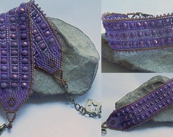 Purple and bronze seed beads woven bracelet