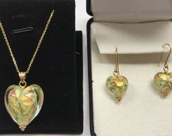 14K Yellow Gold MURANO VENETIAN GLASS Heart Charm Necklace and Earrings Set!