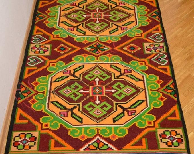 Bessarabian Kilim & area rugs. Vintage Moldovan Kilim, Rose kilim rug, handmade carpet. Vintage handwoven wool rug carpet. Floral Kilim