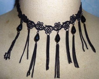 Necklace Victorian gohtique lace black