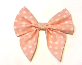 Big Cute Pink Polka-Dotted Bow