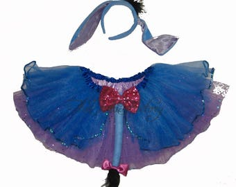 Ready To Ship . Blue Donkey Tutu . Running Skirt . Donkey Tail . Headband Ears . Tutu SHORT Length 11in