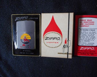 Employees Only Zippo Lighter Minty 1975 New Old Stock Zippo In Box With Paperwork High Color Colorful Enamel Graphics All Original