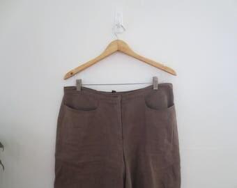 olive linen shorts
