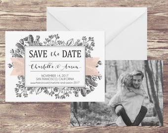 Photograph Save the Date Card, Save the Date with Photograph, Floral Save the Date with Photo, Photo Save the Date, Modern Save the Date