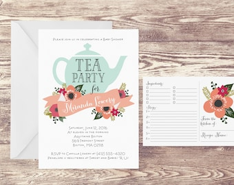Printed Tea Party Invitation with Recipe Card, Recipe Cards for Kitchen Bridal Shower, Wedding Shower Invitation, Kitchen Shower Invite