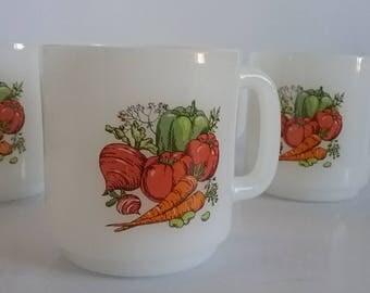 Vintage Glasbake coffee cups set of 4 vegetables