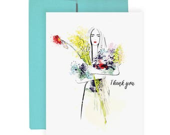 Thank You Wildflower - Greeting Card, Fashion Illustration, Flower Card, Gift Card, Thanks Note