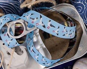 "Summer Sale Ribbon color mix ""Seagulls woven Ribbon"" light blue"