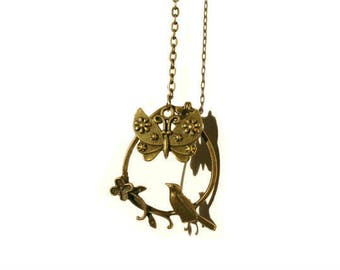 Vintage Style Bronze Tone Necklace with Pendant  Bird with Butterfly
