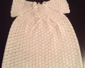 Crochet Christening baby dress.