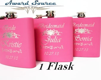 Engraved Flask, Pink Flask, Custom Stainless Steel Flask, Personalized Bride Flask, Flask for women, BRIDE, Maid of Honor Gift, Pink Flask
