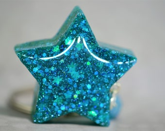Teal Star Key Chain
