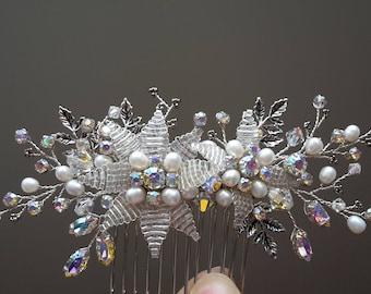 Leaf Bridal Hair Piece Flower Wedding Hairpiece Crystal Hair Comb Bridal Beaded Comb Flower Hair Comb Bridal Hair Comb Swarovski Hair Comb