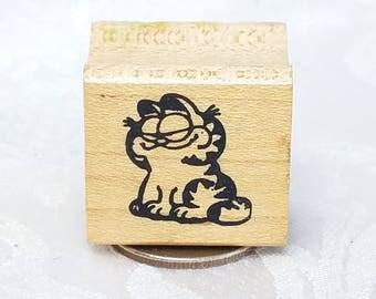 Small Garfield Rubber stamp, Cat Stamp, Kitten, Card Making stamp, Pet stamp Kitty Used rubber stamp, destash, craft stamp, Cat Lover's Card