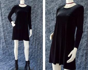 Black Velvet Dress, 90s Black Goth Long Sleeve Dress, Little Black Dress, Babydoll Party Dress, Black Witchy Dress, Women's Size 4