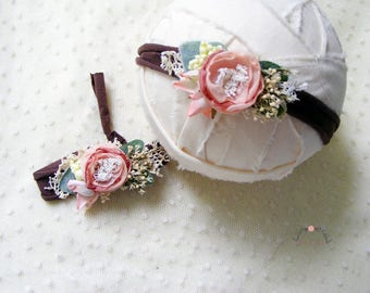 Newborn headband, Flower headband, Newborn prop, Elastic headband, Photography prop, Baby headband, Baby accesories, Newborn flower headband
