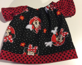 CLEARANCE Minnie Mouse black and red handmade American Girl or bitty baby Top
