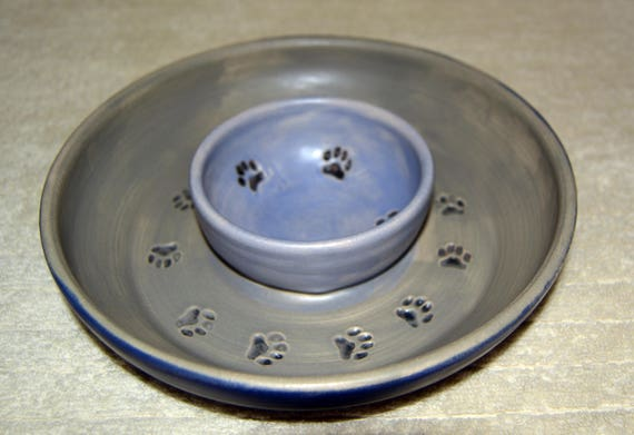 Double Pet Bowl, Dog Bowl, Cat Bowl, Dry Food, Wet Food Bowl, Water Dish, Gray, Blue, Paw Prints, , Black Paws, Stoneware,