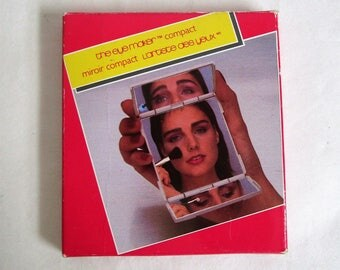 Vintage 80s AVON Compact Mirror Three way Eyemaker Makeup Tool in Box
