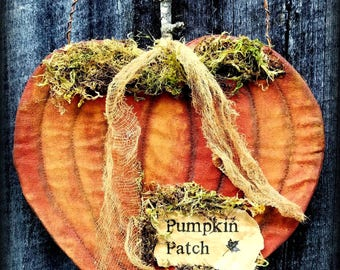 Primitive Folk Art Orange Pumpkin Patch Flat Wall Hanging-Autumn, Fall, Harvest, Halloween, Thanksgiving, Home Decor, Handcrafted Art