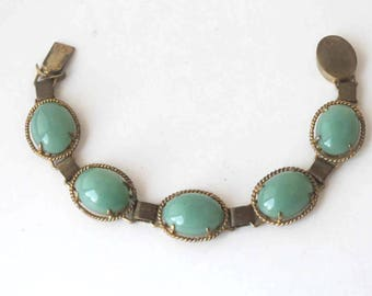 Jade Green Glass Cabochon Brass Bracelet