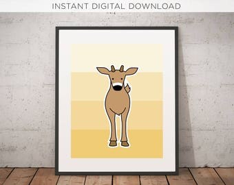 Deer Printable | Digital Download | Woodland | Nursery Art | Printable | Illustration | Instant | Kids room | Wall Decor | Woodland Critters