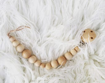 pacifier clip natural eco friendly speenkoord wood teething toy ring teether Paci Clip wooden pacifier holder pacifier chain dummy holder